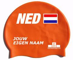 Badmuts Nederland (Oranje) met je eigen naam
